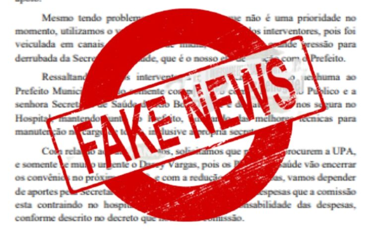 Nota de repúdio a respeito de 'fake news' divulgada por pessoas mal-intencionadas